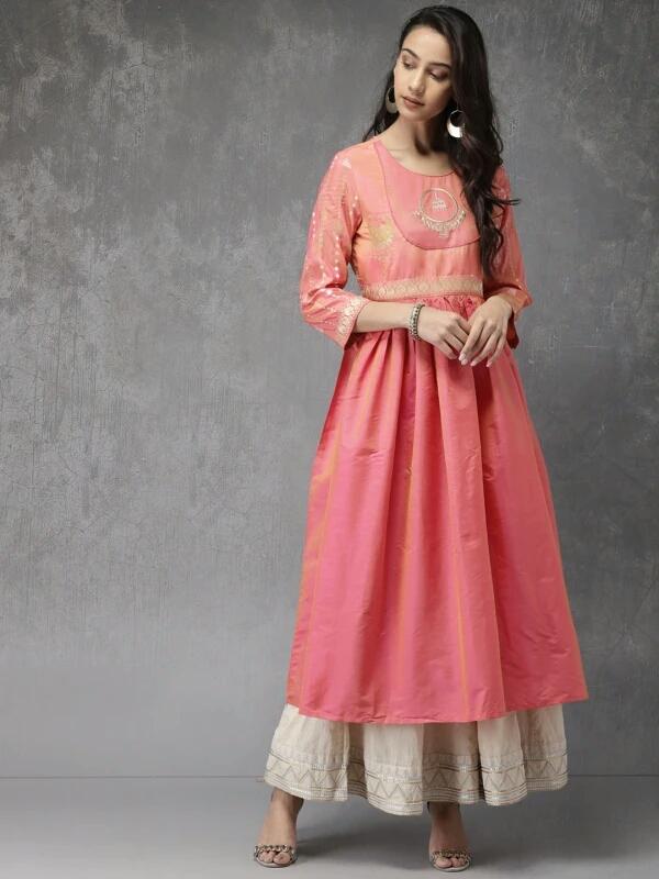 Myntra Anouk Women Pink yoke design anarkali kurta - LookWhatIChoose