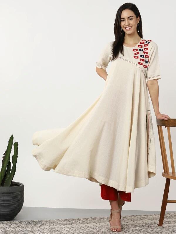 Myntra Sangria women off white red yoke design anarkali kurta - LookWhatIChoose
