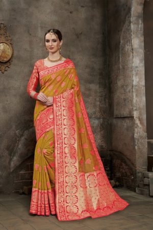 Orange Pure Silk Saree