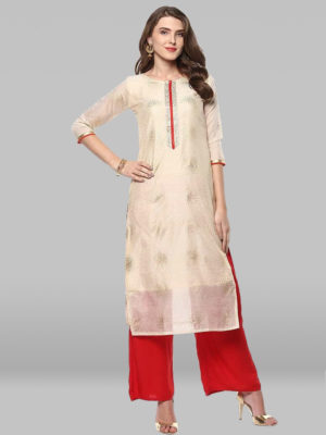 Off White Poly Silk Kurta