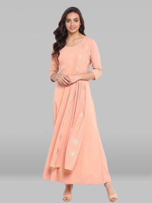 Peach Poly Crepe Kurta With Attached Duppata