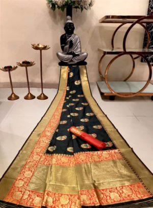 Black Banarasi Silk Saree with Golden Border