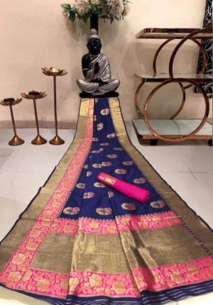 Blue Banarasi Silk Saree with Golden Border