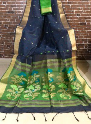 Green Linen Silk Saree with Golden Zari Border