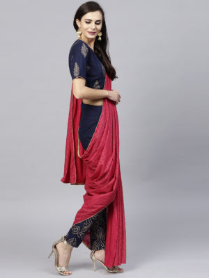 Magenta & Gold Printed Pant Saree