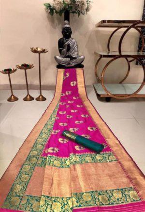 Pink Banarasi Silk Saree with Golden Border