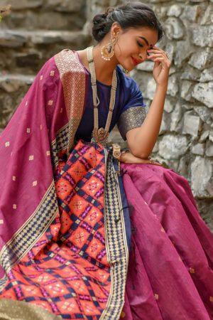 Pink Patola Pallu Handloom Cotton Saree