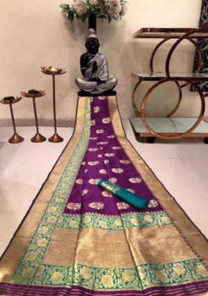 Purple Banarasi Silk Saree with Golden Border