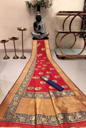 Red Banarasi Silk Saree with Golden Border