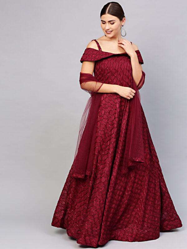 Women Maroon Embellished Gown LookWhatIChoose