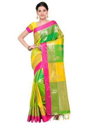 Green and Yellow Banarasi Cotton Silk Saree