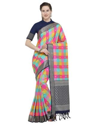 Multi Color Banarasi Cotton Silk Saree