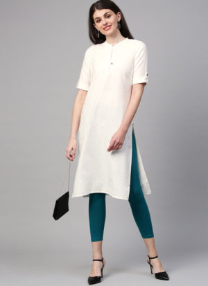 White Rubby Cotton Kurti