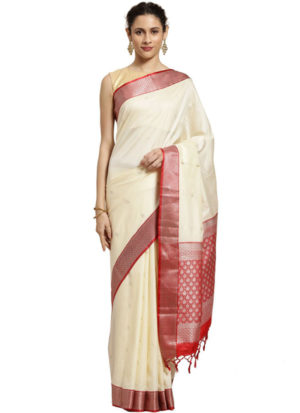 White Banarasi Cotton Silk Saree