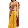 Yellow and Brown Banarasi Cotton Silk Saree LookWhatIChoose