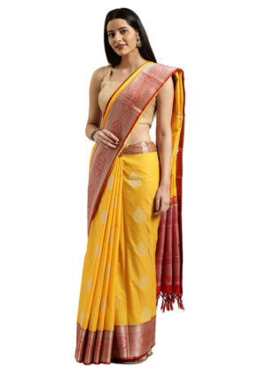 Yellow and Brown Banarasi Cotton Silk Saree