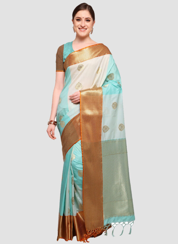 Sky Blue and White Banarasi Cotton Silk Saree