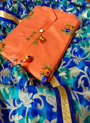 Orange Cotton Salwar Suit Material