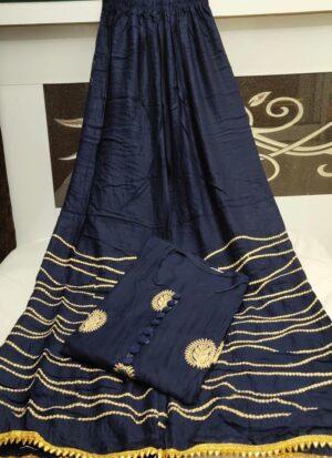 Blue Rayon Plazo Kurti Set