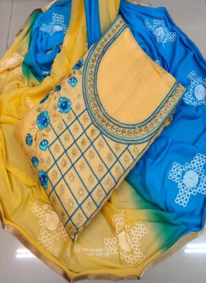 Latest Yellow and Blue Unstitched Dress Material