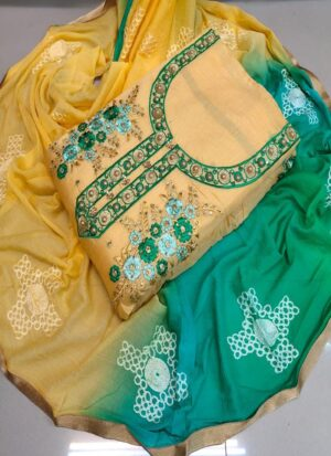 Designer Yellow and Green Women Dress Material