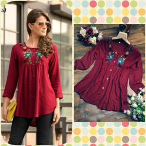 Admire Women Maroon Embroidered Top