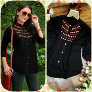 Admire Women Black Embroidered Top