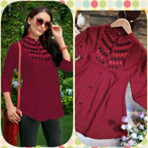 Women Maroon Embroidered Top