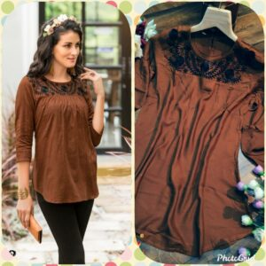 Admire Women Brown Embroidered Top