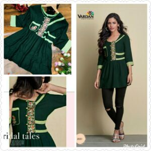 Women Green Embroidered Top