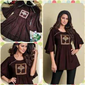 Women Brown Pure Heavy Rayon Embroidered Top