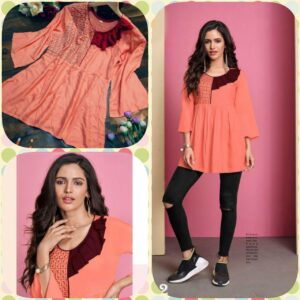 Women Orange Pure Rayon Embroidered Top