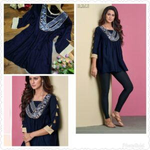 Women Navy Blue Pure Rayon Embroidered Top
