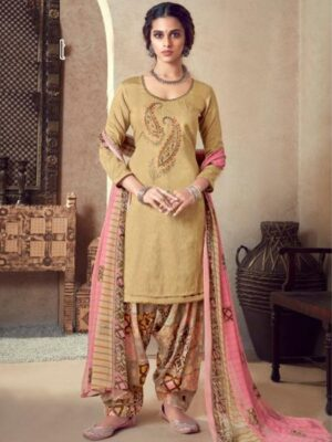 Golden and Pink Printed Cotton Patiala Suit