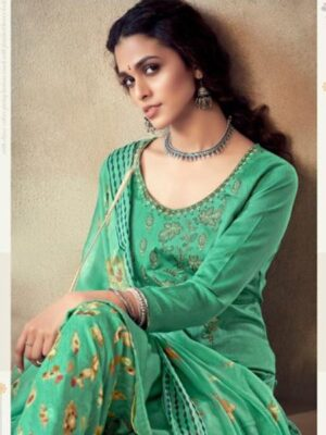 Green Printed Cotton Patiala Suit