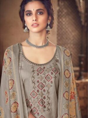Grey Printed Cotton Patiala Suit