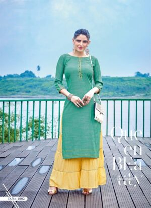 Green Embroidered Long Kurti