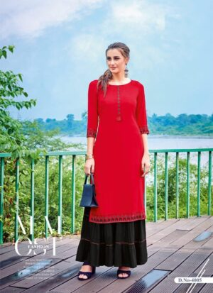 Red Embroidered Long Kurti