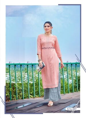Peach Embroidered Long Kurti