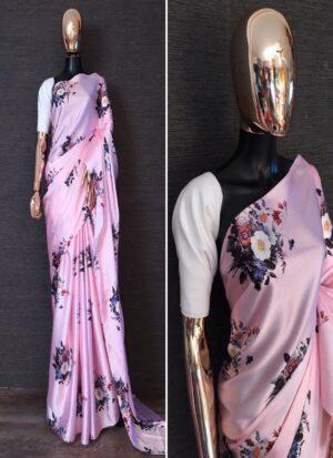 Beautiful Baby Pink Digital Printed Satin Saree