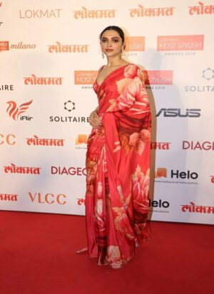 Deepika Padukone Red Printed Bollywood Saree