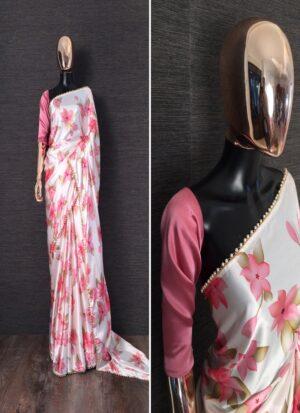 Baby Pink Floral Printed Satin Silk Saree