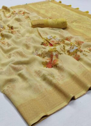 Yellow Floral Printed Soft Silk Saree