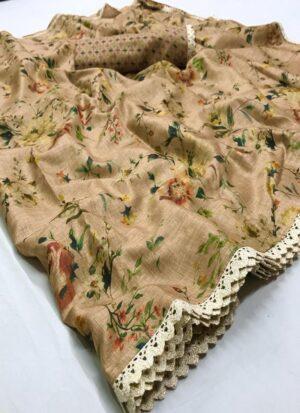 Beige Manipuri Soft Silk Printed Saree