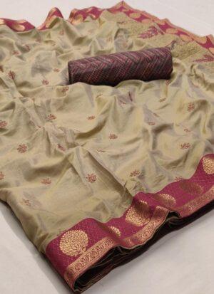 Beige Pure Linen Silk Saree