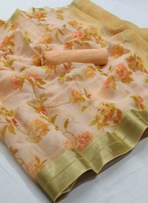 Yellow Soft Organza Silk Printed Saree