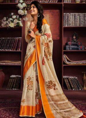 Beige & Orange Linen Silk Saree