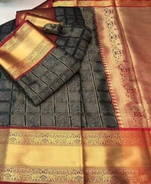 Black Handloom Kanchipuram Silk Saree with Contrast