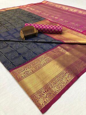 Blue Handloom Kanchipuram Silk Saree with Contrast Border