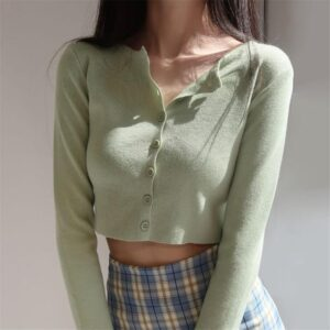 Korean Style O-neck Short Knitted Sweaters Women